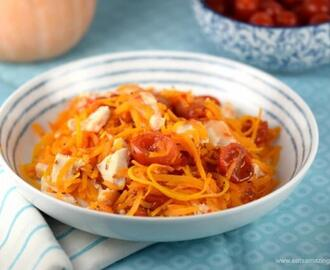 Spiralized Butternut Squash with Sweet Chilli Chicken