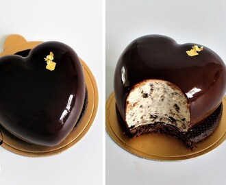 Mirror Glaze Cookies and Cream Cheesecake Heart Entremet