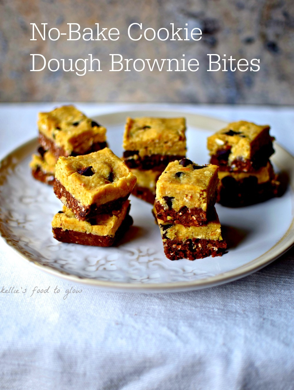 No-Bake Cookie Dough Brownie Bites Recipe
