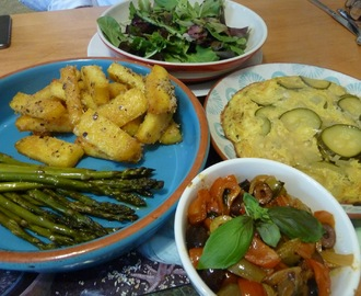 "Courgette frittata with polenta chips, roast asparagus and a tomato and olive ""sauce"""