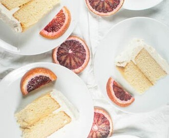 Yellow Layer Cake with Blood Orange Curd and Vanilla Buttercream {Creamsicle Cake}