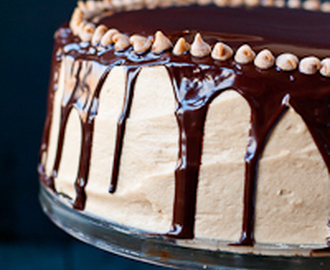4 Layer Chocolate Brownie Cake with Peanut Butter Frosting and Chocolate Ganache