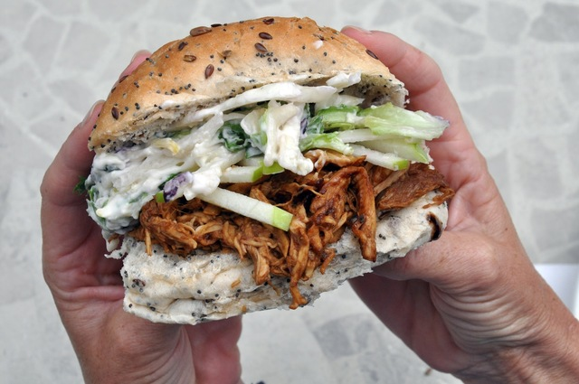 Recipe: Jim Beam Bourbon BBQ Chicken Sandwiches with Blue Cheese and Apple Salad