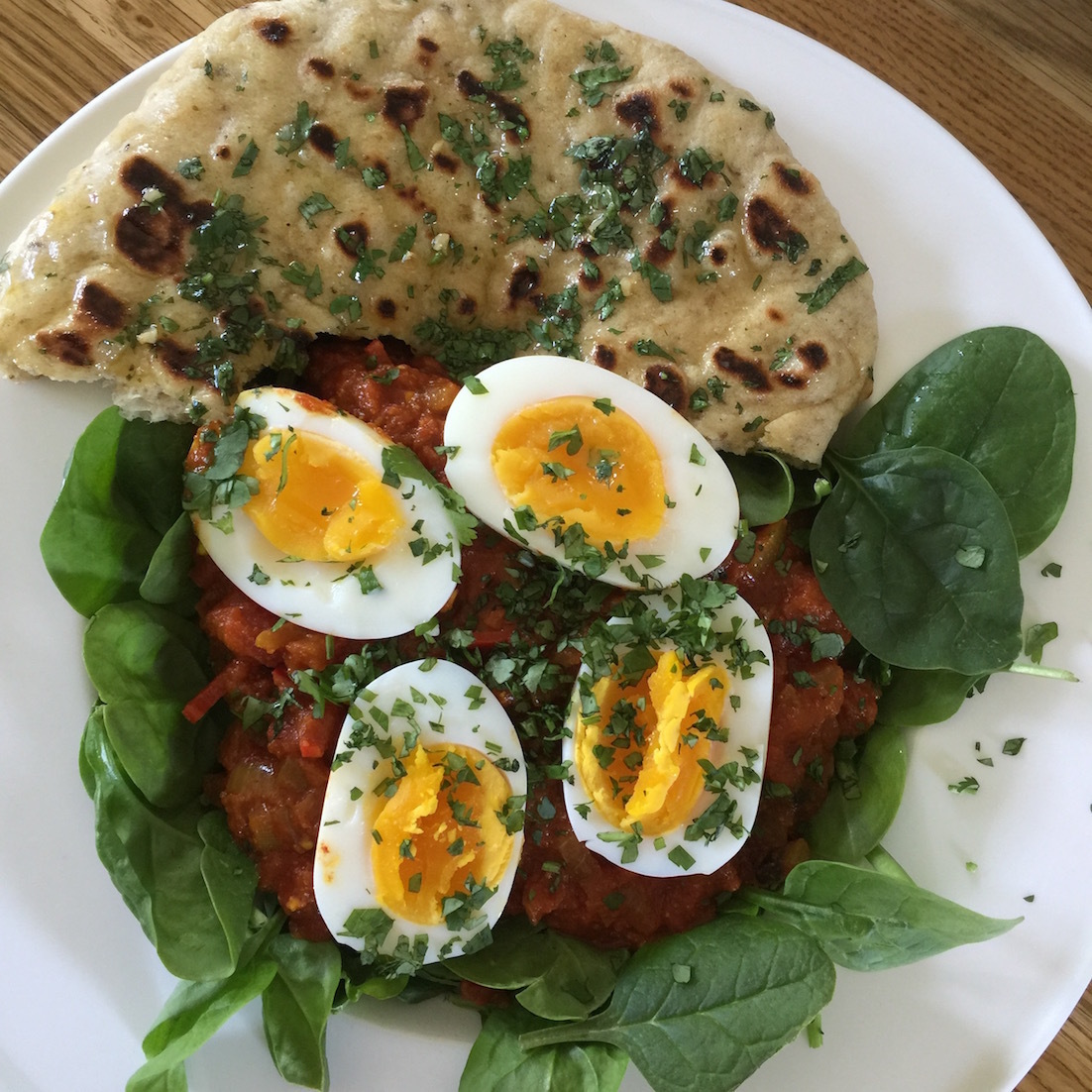 Spiced Garlic Flat Bread And Curried Eggs