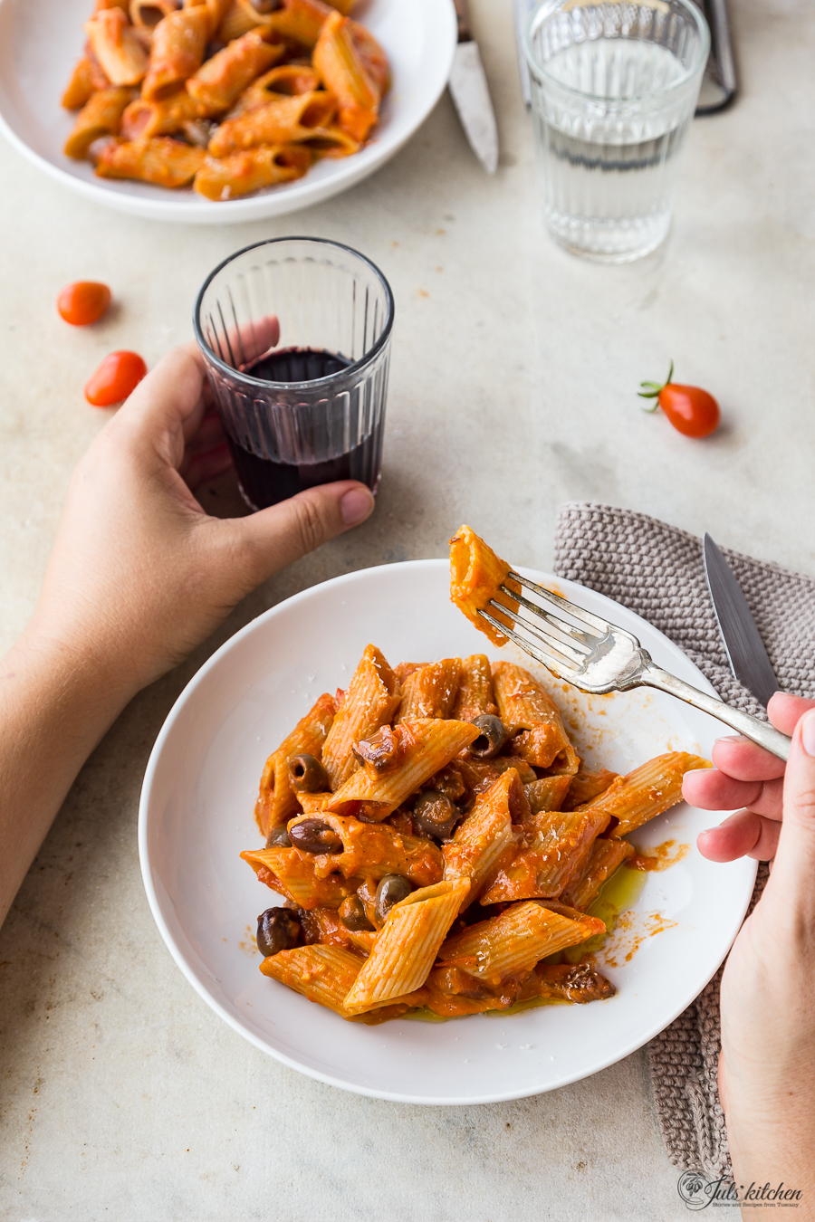 Pasta with tomato sauce, guanciale and olives + A Saveur nomination!