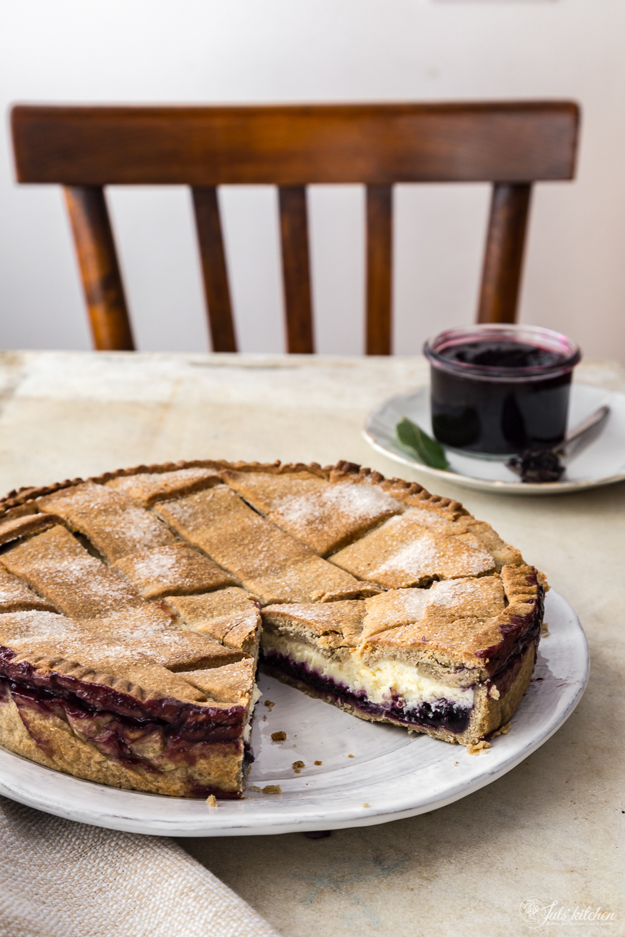 Blueberry jam and ricotta crostata from the Tuscan Appennini