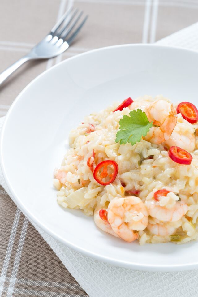 Prawn Risotto with Garlic, Chilli and Spring Onions