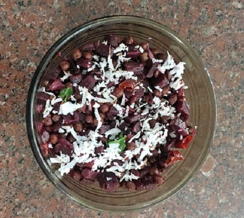 Beetroot and Kadalai Thoran - Beetroot and Black Chick Pea Dry Curry