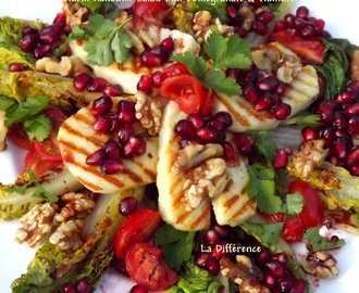 Warm Halloumi Salad with Pomegranate and Walnuts
