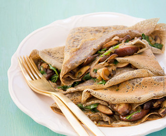 Buckwheat Crepes Stuffed with Mushrooms