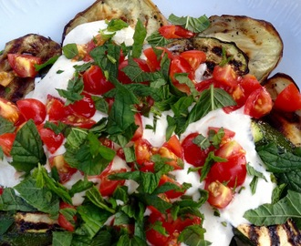 Grilled aubergine and courgette salad with tahini sauce