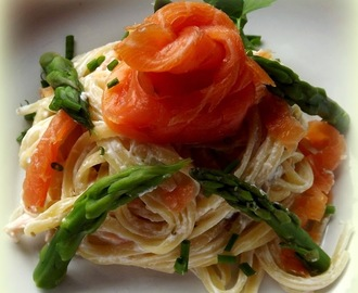 Smoked Salmon and Asparagus Linguine