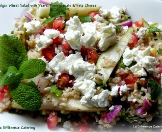 Bulgar Wheat Salad with Pears, Pomegranate & Feta Cheese