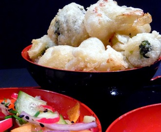 Cauliflower & Broccoli Tempura with Pickled salad and Sweet Chilli Sauce