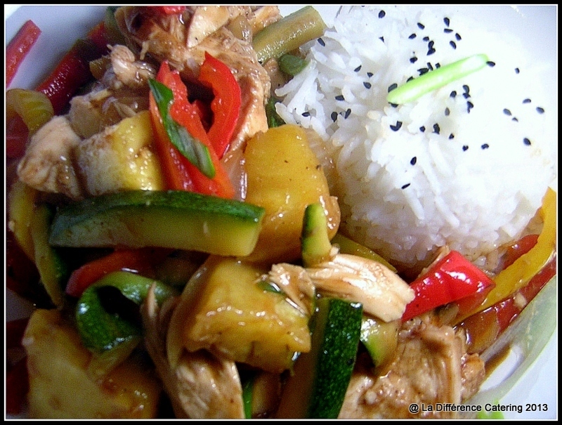 Stir Fry Chicken with Pineapple, Peppers & Courgettes, Basmati Rice & Black Onion Seeds