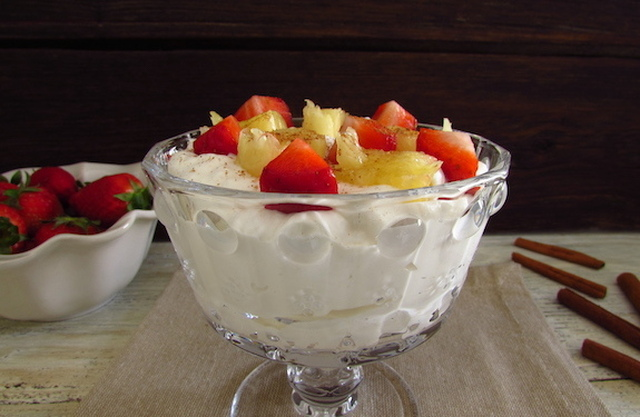 Chantilly with strawberries and pineapple | Food From Portugal