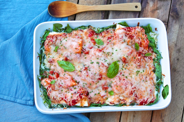 One Dish Baked Fish Marinara