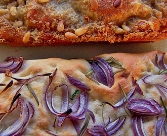 Focaccia, with red onion & rosemary and Gorgonzola & pine nuts.