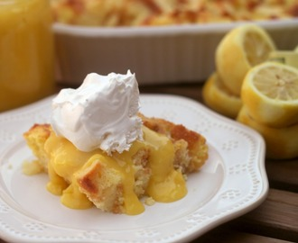 Lemon Bread Pudding with Lemon Curd