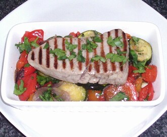 Griddled Tuna Steak on Roasted Veg