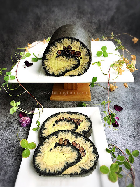 Bamboo Charcoal Matcha Hurricane Roll Cake with Matcha Swiss Meringue Buttercream 竹炭抹茶台风蛋糕卷 + 抹茶瑞士奶油霜