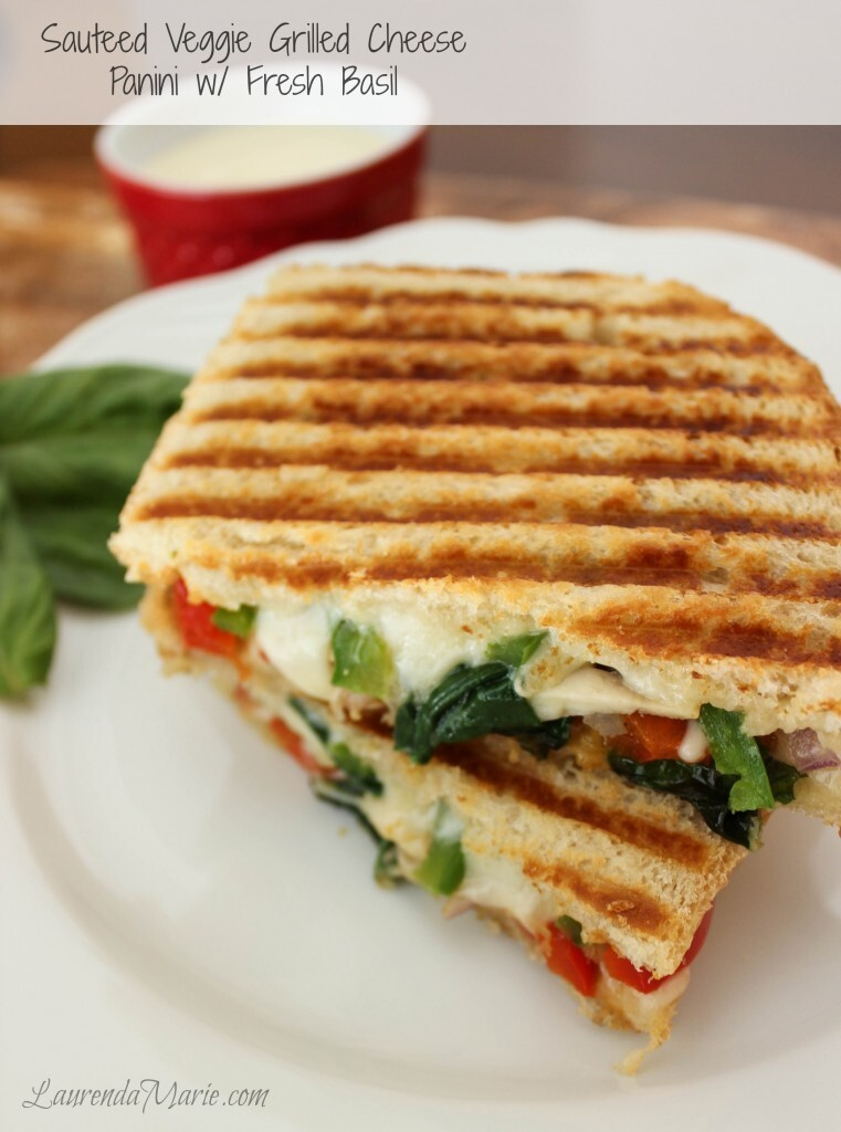Sautéed Veggie Grilled Cheese Panini with Fresh Basil