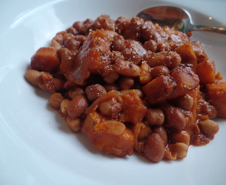 smoky sweet potato & mixed bean stew.