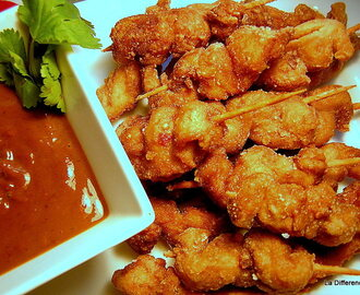 Crispy 5 Spice Chicken Skewers with Satay Sauce
