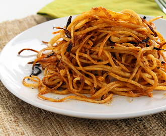 Spicy Spiralized Shoe String Jicama Fries