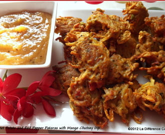 Sweet potato & red pepper pakoras with mango chutney dip