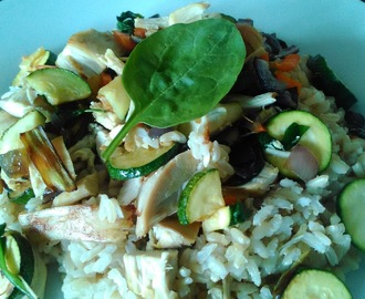 Summer Vegetables, Chicken and Rice Dish