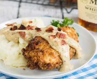 Pecan Chicken in Bourbon Maple Cream Gravy