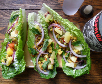 Sweet and Spicy Curried Tofu Taco Lettuce Wraps