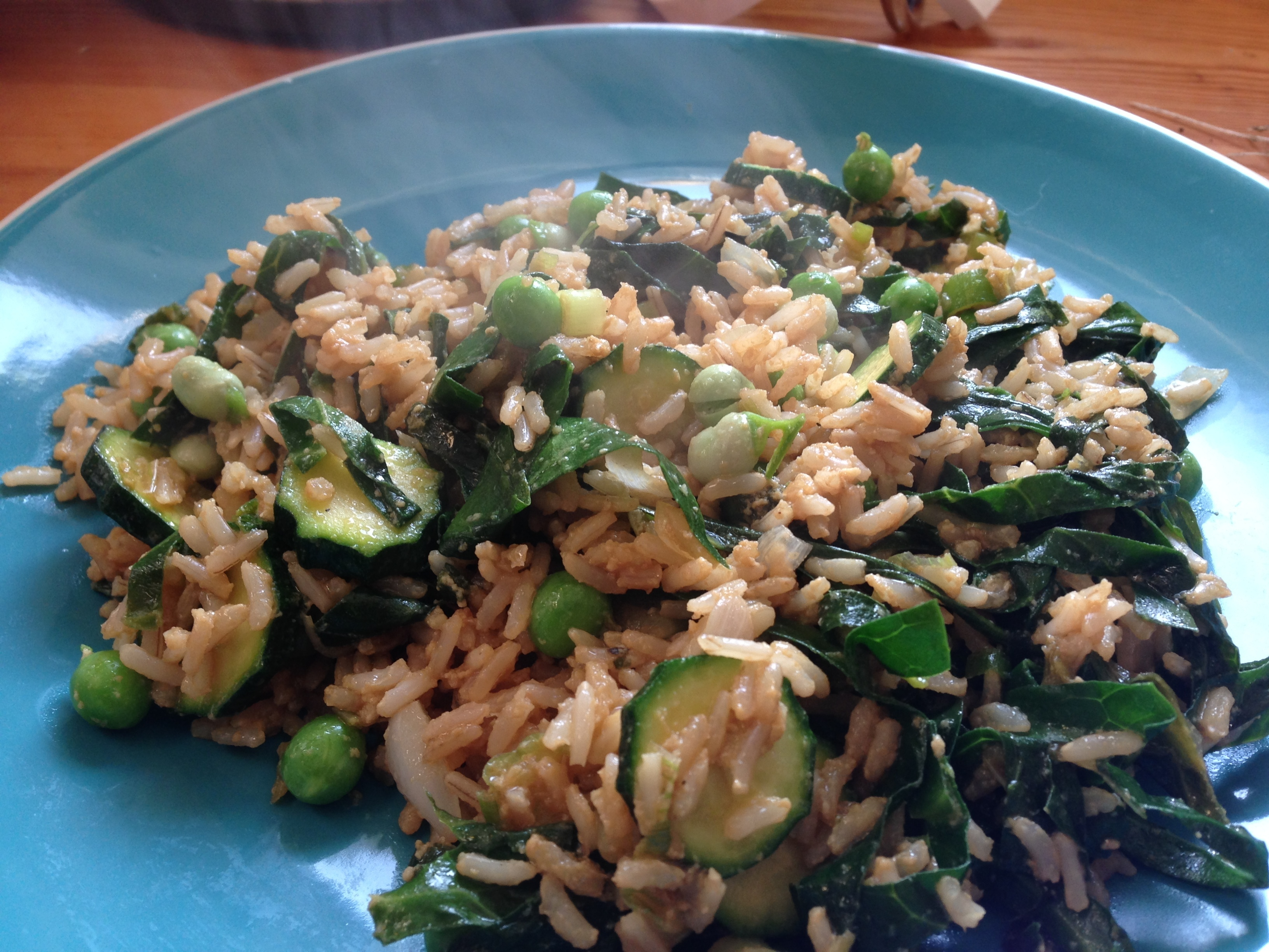 Stir Fried Brown Rice With Garden Veg