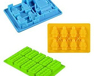 Silicone Building Bricks and Minifigure Ice Cube Tray - Candy Chocolate Crayon Mold For Lego Lovers Pack 3 (Green Yellow Blue)