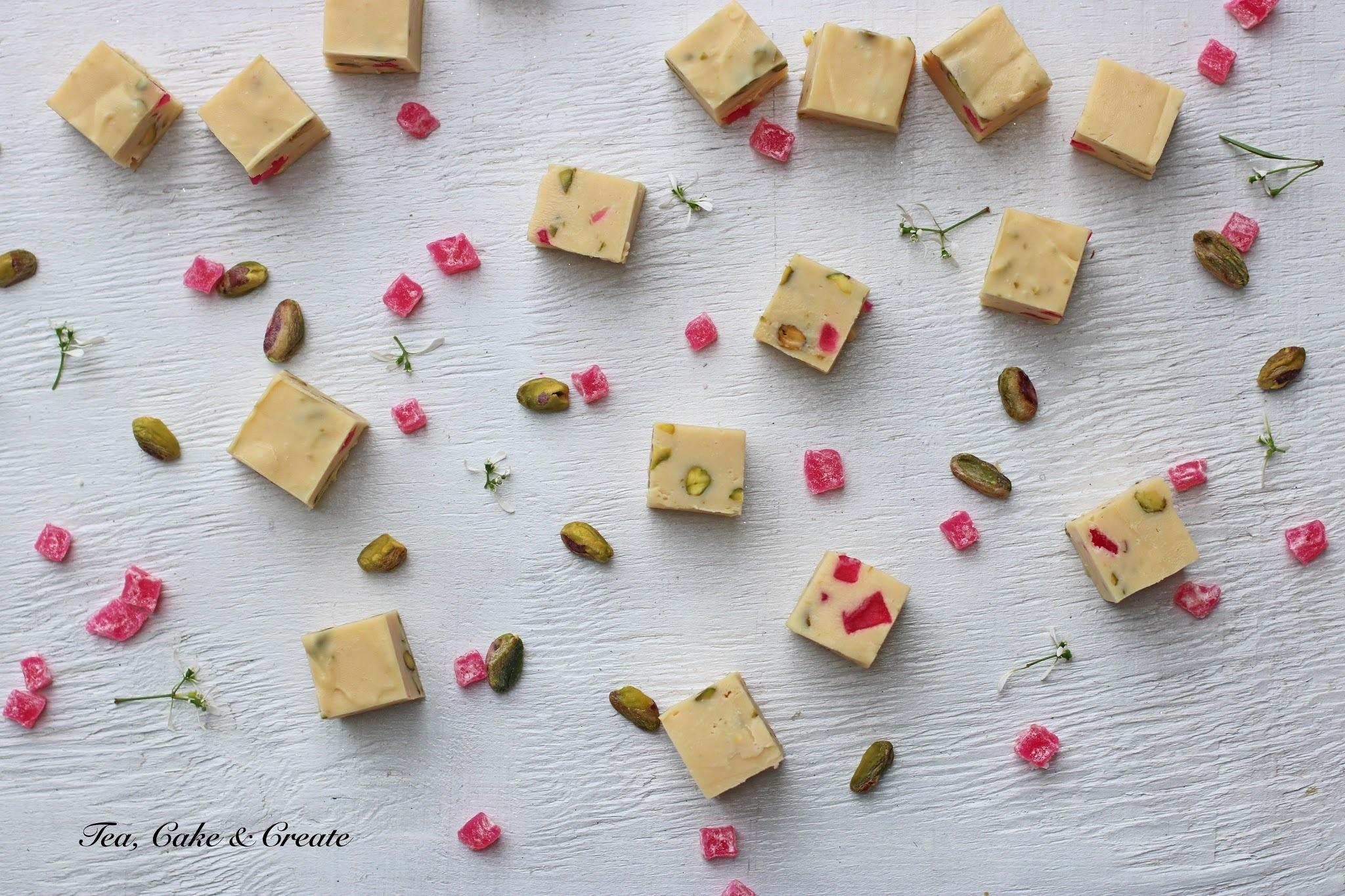 Pistachio and Turkish Delight White Truffle-Fudge Squares