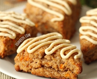 Carrot Cake Scones with Cream Cheese Frosting (100% whole grain, dairy-free)