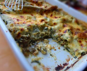 Creamy Spinach and Mushroom lasagne