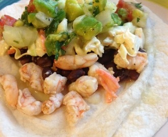 Taco Tuesday... Shrimp and Black Bean with Avocado Salad