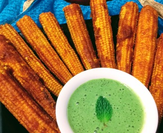 MASALA BABY CORNS WITH MINT-YOGURT-CHILLI CHUTNEY
