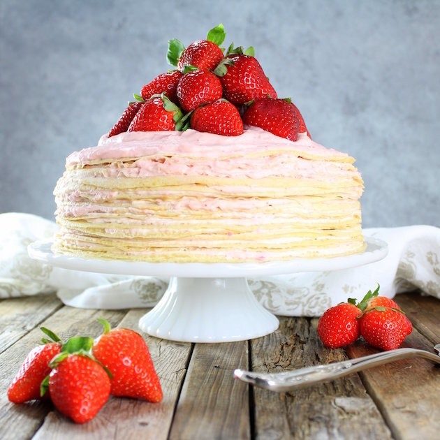 Strawberry Lemon Creme Crepe Cake