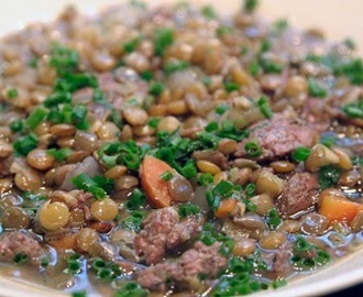Ina's Green Lentil and Sausage Soup