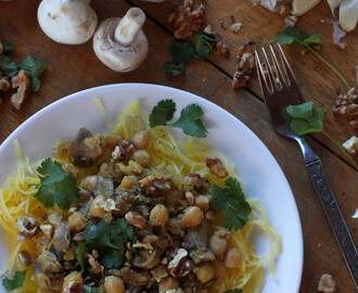 Spaghetti Squash with Mushrooms and Chickpeas