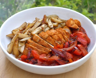 Peruvian Baked Chicken with Herb Fries + Caramelized Veggies.