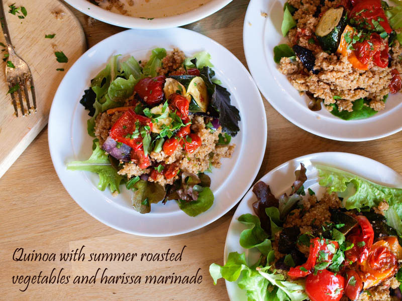 Quinoa with Summer Roasted Vegetables and Harissa Marinade and a Giveaway