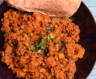 Aloo Keema Matar ( Minced Lamb curry with Potato & Peas)