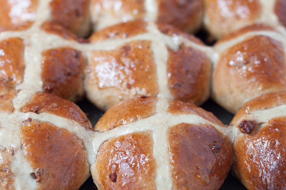 Pecan, Cinnamon and Orange Hot Cross Buns