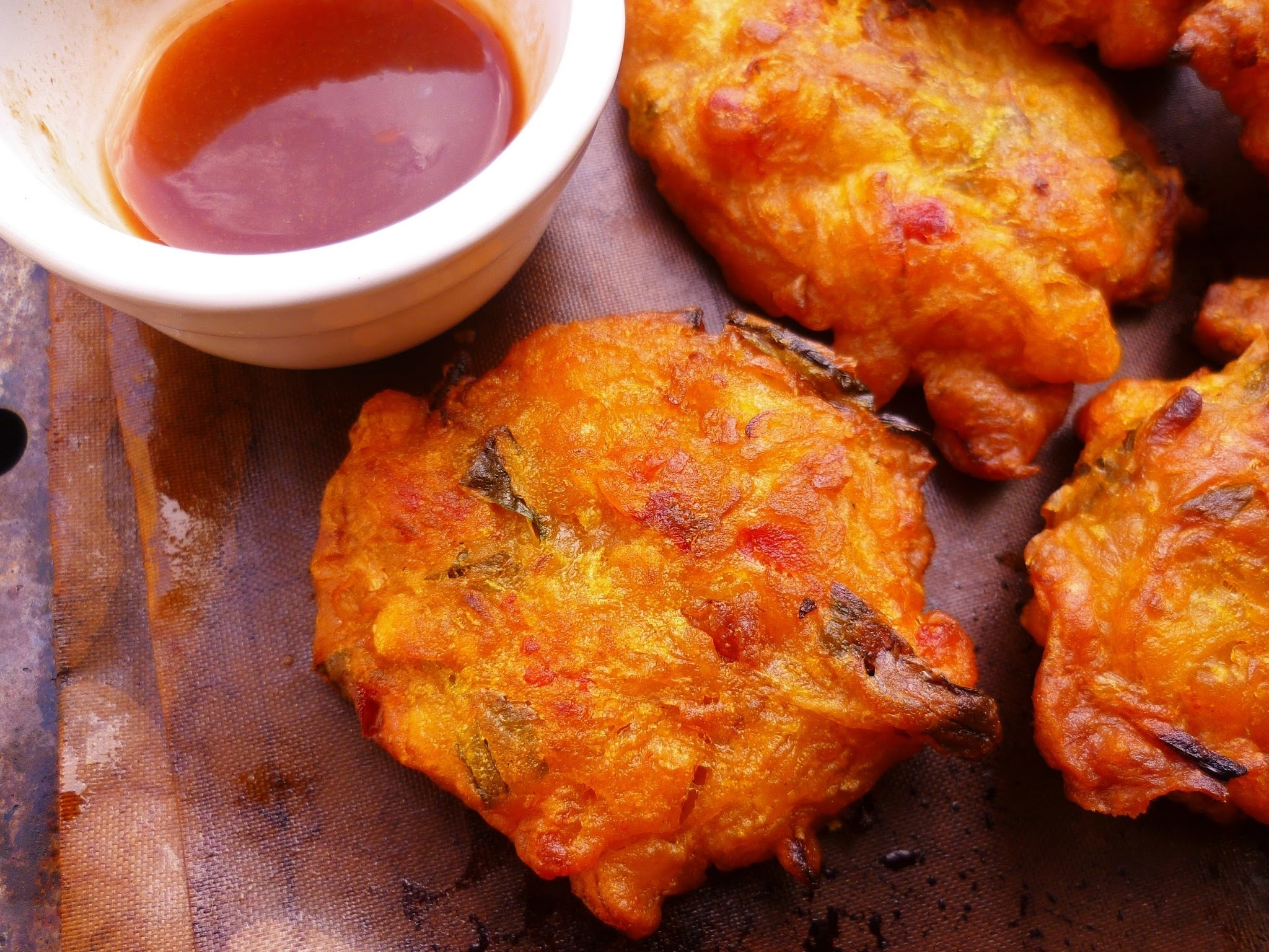 malaysian crispy prawn fritters (cucur udang) with a sweet chilli dipping sauce