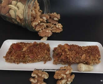 Nutty flapjacks with mixed nuts, mixed seeds and citrus flavoured honey