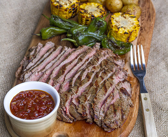 Flank steak & bbq-kastike